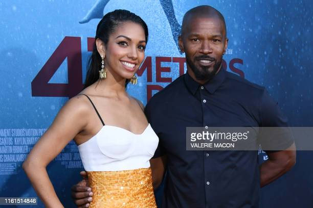 US actress and model Corinne Foxx and her father US actor Jamie Foxx attend the premiere of 47 Meteres Down Uncaged at the Regency Village Theatre in...