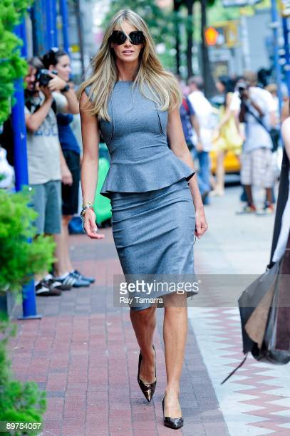 Actress and model Elle Macpherson walks to The Beautiful Life movie set in Soho on August 11 2009 in New York City