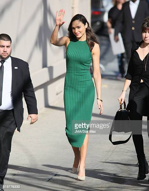 Actress and model Gal Gadot is seen at 'Jimmy Kimmel Live' on March 15 2016 in Los Angeles California