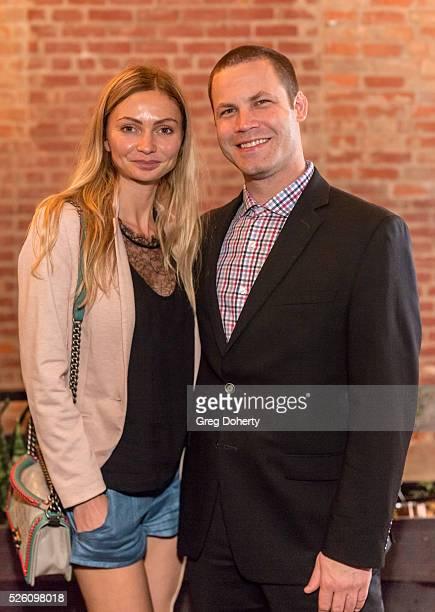 Actress and Model Gia Skova and Producer Jared Safier attend the LANY Entertainment Presents The Bay PreEmmy Party at the St Felix on April 28 2016...