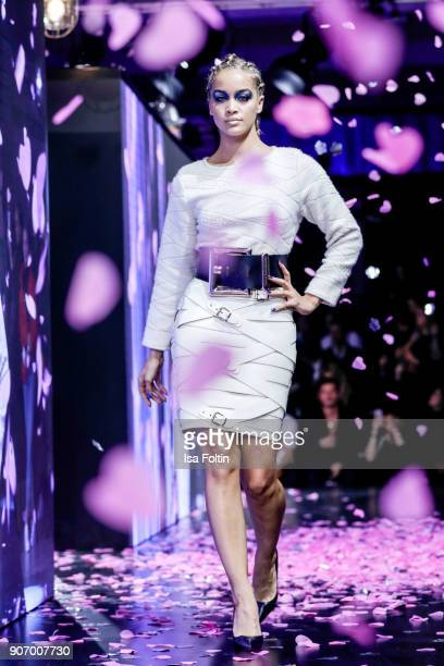 Actress and model Jasmine Sanders walks the runway during the Maybelline Show 'Urban Catwalk - Faces of New York' at Vollgutlager on January 18, 2018...