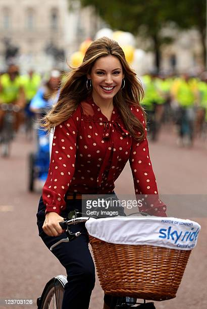 Actress and model, Kelly Brook and cyclists during the London Sky Ride on September 04, 2011 in London, England. Sky Ride is a free cycling event...