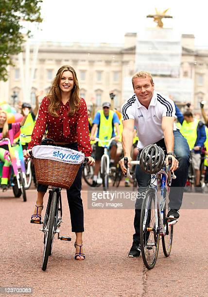 Actress and model, Kelly Brook joined multiple world and Olympic champion Sir Chris Hoy and cyclists during the London Sky Ride on September 04, 2011...
