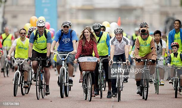 Actress and model, Kelly Brook joined multiple world and Olympic champion Sir Chris Hoy and cyclists during the Mayor of London's Sky Ride on...