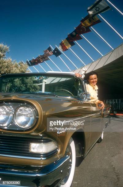 Actress and model Kitty Dolan poses in a 1958 Ford Edsel Citation outside The Tropicana Hotel circa 1958 in Las Vegas Nevada