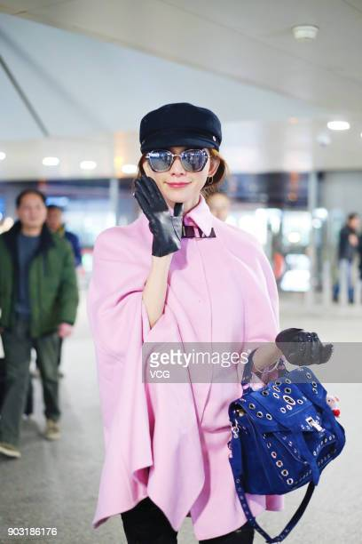 Actress and model Lin Chiling is seen at Shanghai Hongqiao International Airport on January 10 2018 in Shanghai China