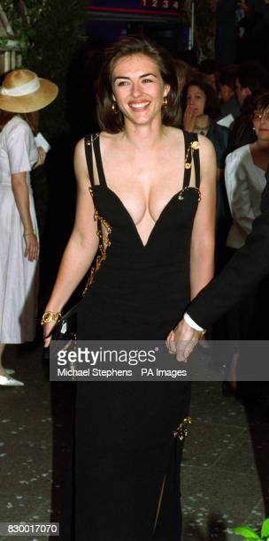 Actress and model Liz Hurley arriving for the charity premiere of the film 'Four Weddings and a Funeral' at the Odeon in London's Leicester Square...