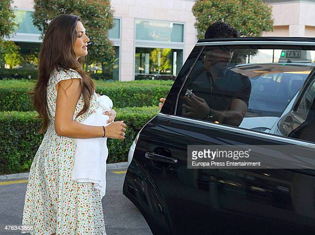 Actress and model Lorena Bernal presents her new baby born Oliver Arteta on June 5 2015 in Palma de Mallorca Spain