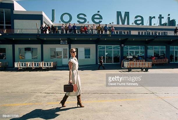 Actress and model Margaux Hemingway at the José Martí International Airport, February 1978 in Havana, Cuba.