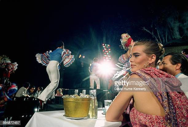 Actress and model Margaux Hemingway at the Tropicana Club, February 1978 in Havana, Cuba.