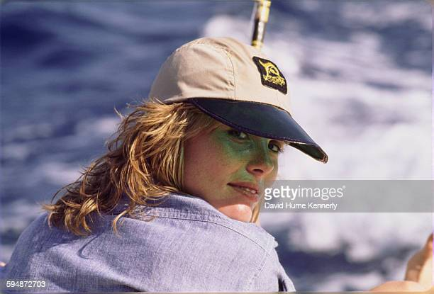 Actress and model Margaux Hemingway on a fishing trip, circa 1977 near Santo Domingo, Dominican Republic.