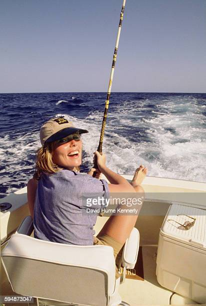 Actress and model Margaux Hemingway on a fishing trip circa 1977 near Santo Domingo Dominican Republic