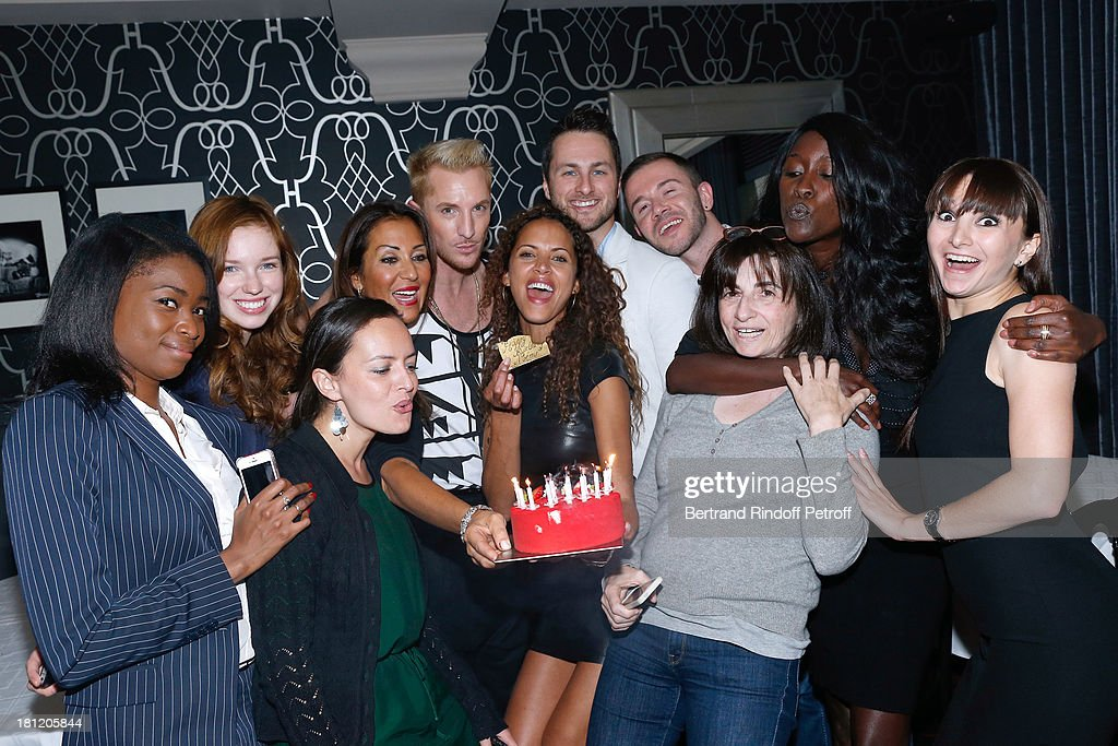 Actress and model Noemie Lenoir (6th L) celebrates her 34th birthday with TV presenter of 'Belle toute nue' William Carnimolla (5th L), her Dance professor Christian Millette (7th L) and friends at 'A.Club Party' at Castel on September 19, 2013 in Paris, France.