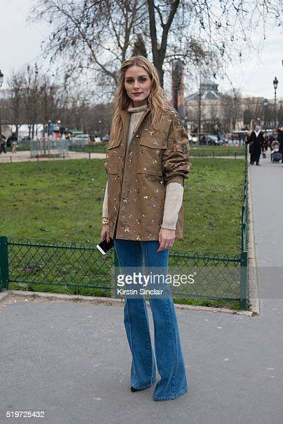 Actress and Model Olivia Palermo wears Valentino jacket Riess jeans and Brunello Cucinelli sweater on day 6 during Paris Fashion Week Autumn/Winter...