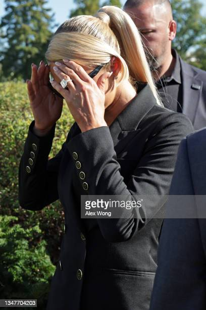 Actress and model Paris Hilton leaves after a news conference outside the U.S. Capitol October 20, 2021 in Washington, DC. Congressional Democrats...