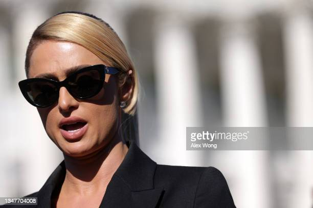 Actress and model Paris Hilton speaks during a news conference outside the U.S. Capitol October 20, 2021 in Washington, DC. Congressional Democrats...