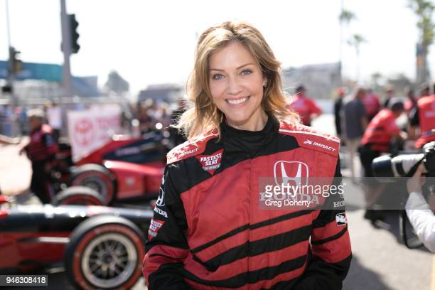 Actress and Model Tricia Helfer poses for a photo at the Honda Indy Driving Experience at the Toyota Grand Prix of Long Beach on April 13 2018 in...