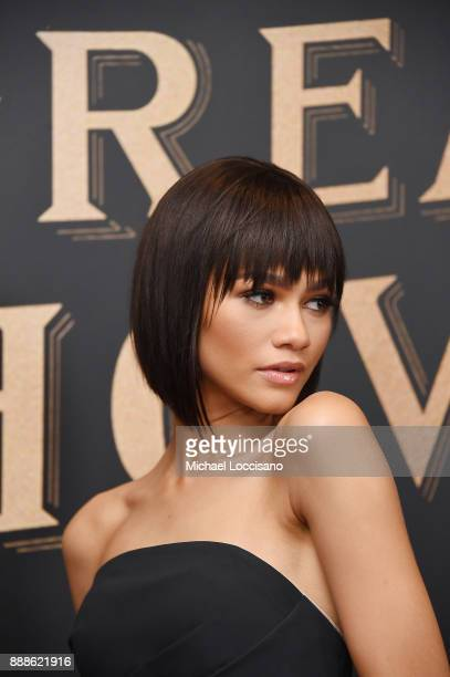 Actress and model Zendaya attends the The Greatest Showman World Premiere aboard the Queen Mary 2 at the Brooklyn Cruise Terminal on December 8 2017...