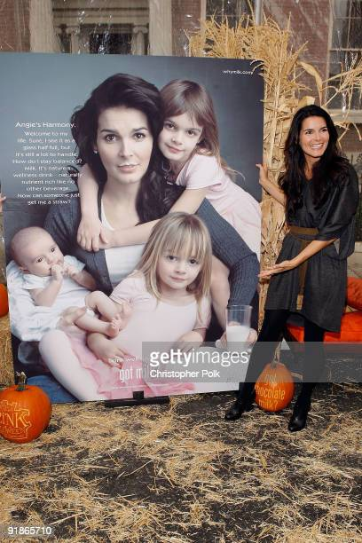 Actress and mom Angie Harmon unveils her new Milk Mustache ad and celebrates chocolate milk as The Official Drink of Halloween on New York Street in...