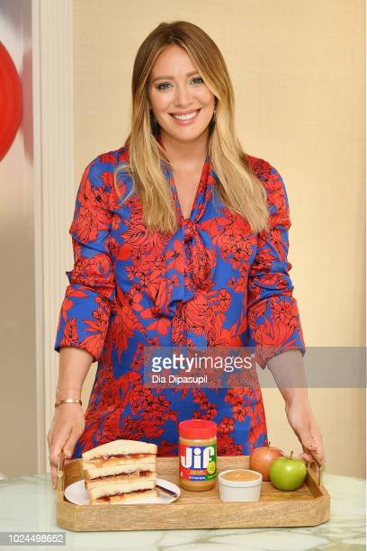 Actress and mom Hilary Duff makes PBJ sandwiches with Jif® Peanut Butter while announcing the Imagine If With Jif contest launch on August 27 2018 in...