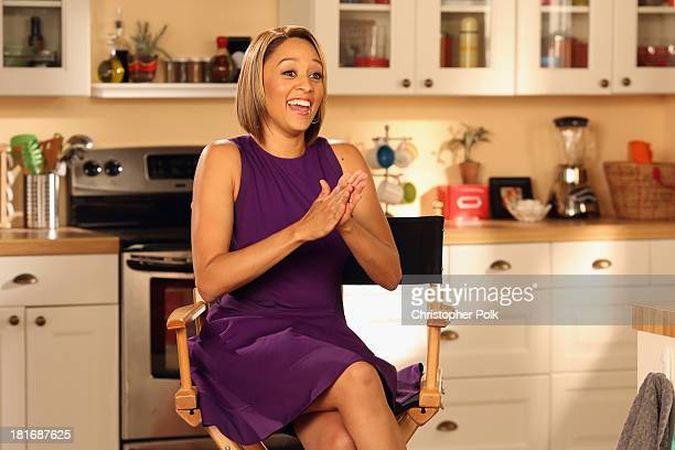 Actress and mom Tia Mowry shows off her playful side while filming a FluMist® Quadrivalent video on August 26, 2013 in Los Angeles, California.