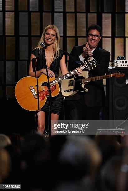 Actress and musician Gwyneth Paltrow and musician Vince Gill perform onstage at the 44th Annual CMA Awards at the Bridgestone Arena on November 10...