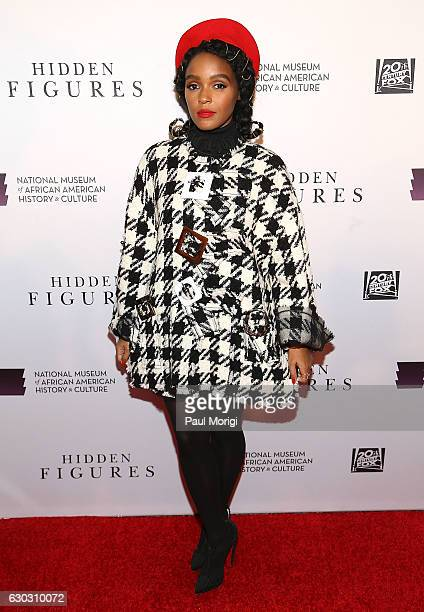 Actress and musician Janelle Mone arrives at the Hidden Figures Washington DC Screening at National Museum of African American History Culture on...