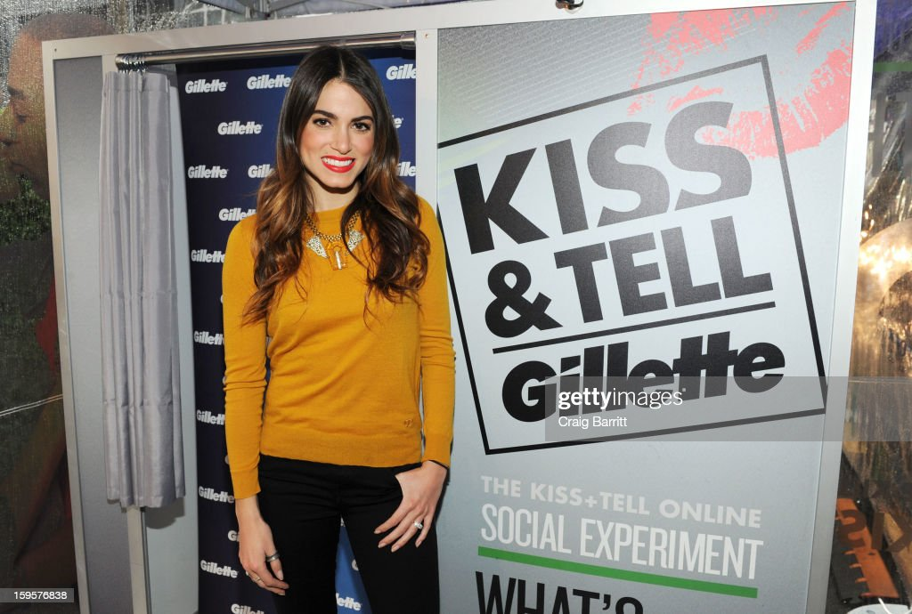 Actress and musician Nikki Reed helps kick off Gillette's 15-city Kiss & Tell Live National Experiment today in Times Square by asking women which kiss is best: a kiss with stubble or smooth shaven skin, on January 16, 2013 in New York City.