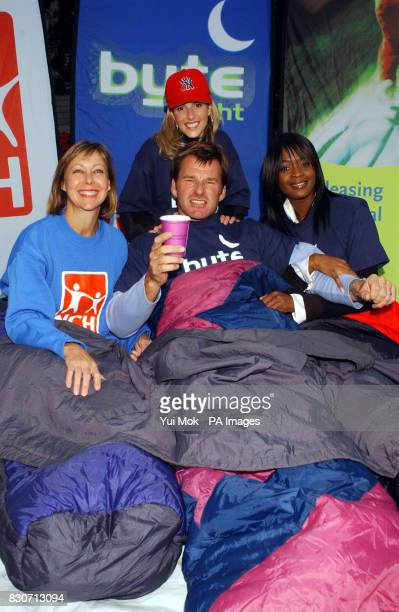 Actress and NCH supporter Jenny Agutter golfer Nick Faldo his wife Valerie and soul singer Beverlei Brown sleeping out in Finsbury Square in London...