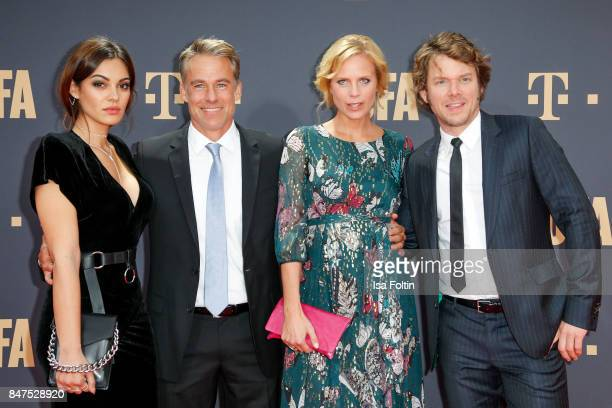 Actress and Nilam Farooq German actor Marco Girnth German actress Melanie Marschke and German actor Steffen Schroeder attend the UFA 100th...