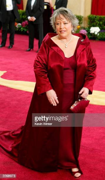 Actress and nominee Kathy Bates wearing Harry Winston jewelry Stuart Weitzman shoes and Katherine Bauman handbag attends the 75th Annual Academy...