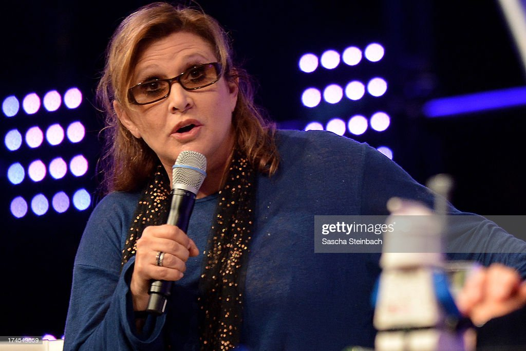 Actress and novelist Carrie Fisher, best known for her performance as Princess Leia in the original Star Wars trilogy, attends the Star Wars Celebration at Messe Essen on July 27, 2013 in Essen, Germany.