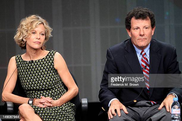 Actress and participant Meg Ryan and Coauthor New York Times columnist and Pulitzer Prizewinning reporter Nicholas Kristof speak onstage at the 'Half...