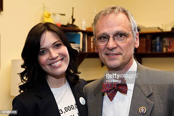 Actress and performer Mandy Moore poses for a photo with Congressman Earl Blumenauer during the 2010 World Water Day coalition on Capitol Hill on...