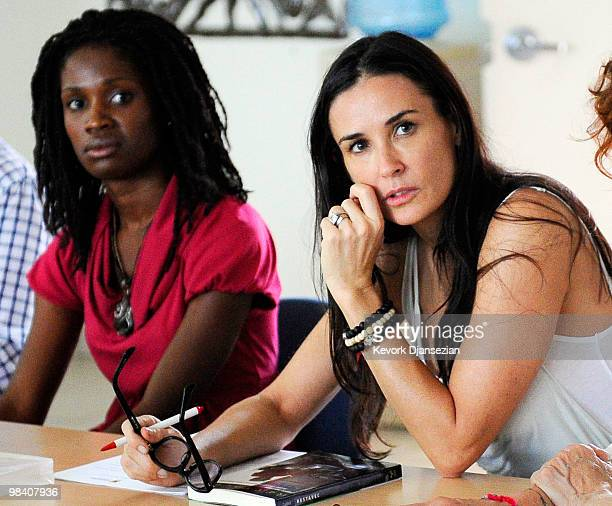 Actress and philanthropist Demi Moore meets with groups working on child slavery on April 11 in Port Au Prince Haiti