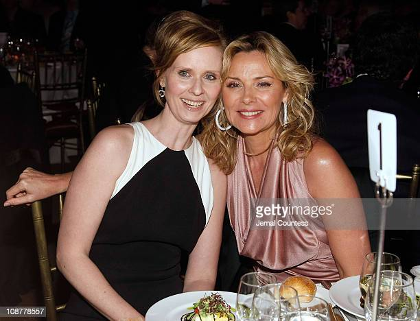 Actress and Point Foundation Honoree Cynthia Nixon and actress Kim Cattrall at the Point Foundation 'Point Honors The Arts' Benefit at Capitale on...
