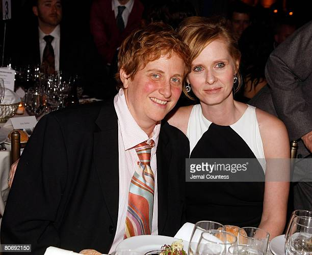 """Actress and Point Foundation Honoree Cynthia Nixon poses with Christine Marinoni at the at the Point Foundation """"Point Honors The Arts"""" Benefit at..."""