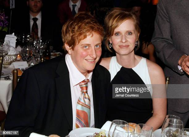 Actress and Point Foundation Honoree Cynthia Nixon poses with Christine Marinoni at the at the Point Foundation Point Honors The Arts Benefit at...