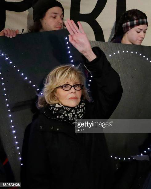 US actress and political activist Jane Fonda attends a rally with opponents of the Keystone XL and Dakota Access pipelines as they protest US...