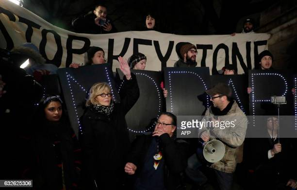 Actress and political activist Jane Fonda attends a rally with opponents of the Keystone XL and Dakota Access pipelines as they protest US President...