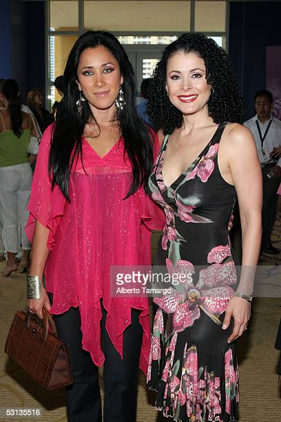 Actress and presenter Monica Noguera poses with actress Lourdes Munguia at Encuentro Emociones At The Mandarin Oriental Hotel on June 22 2005 in...
