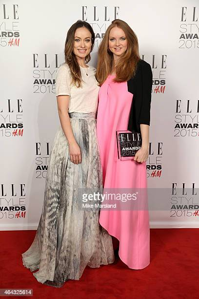 Actress and presenter Olivia Wilde poses with model Lily Cole winner of the HM Conscious Award in the winners room during the Elle Style Awards 2015...