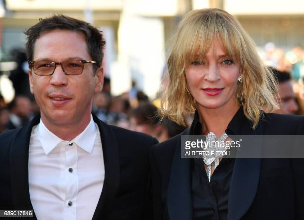 TOPSHOT US actress and President of the Un Certain Regard jury Uma Thurman and French actor and member of the Un Certain Regard jury Reda Kateb...