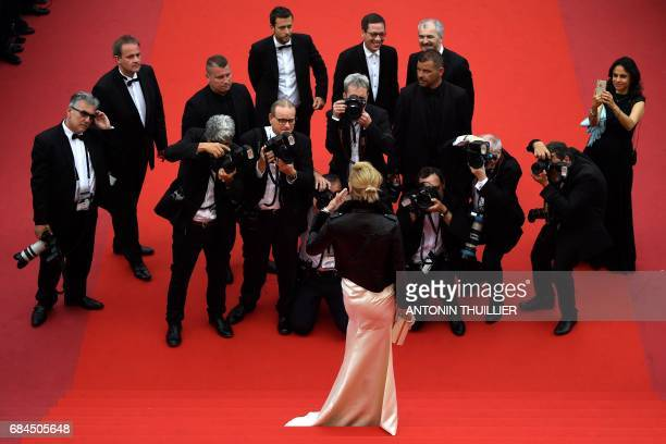 US actress and President of the Un Certain Regard jury Uma Thurman arrives on May 18 2017 with jury members Belgium director Joachim Lafosse French...