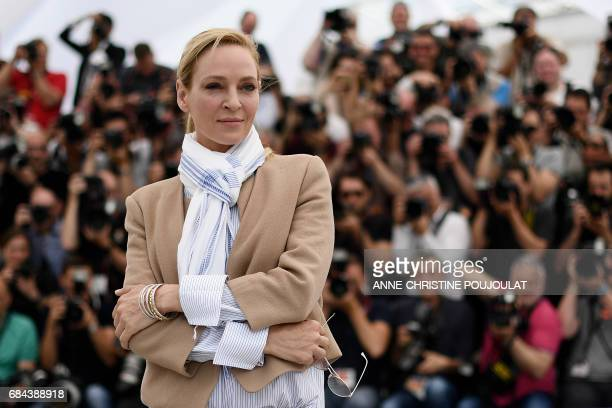 US actress and President of the Un Certain Regard jury Uma Thurman poses on May 18 2017 during a photocall at the 70th edition of the Cannes Film...