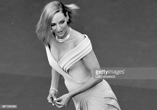 US actress and President of the Un Certain Regard jury Uma Thurman poses as she arrives on May 17 2017 for the screening of the film 'Ismael's...
