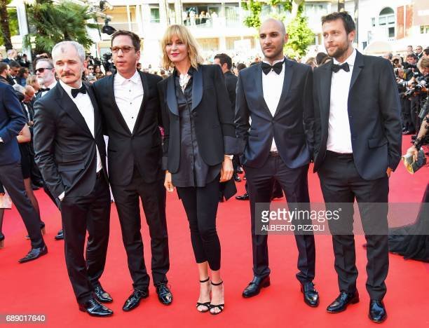US actress and President of the Un Certain Regard jury Uma Thurman poses with Czech artistic director of the Karlovy Vary festival and member of the...