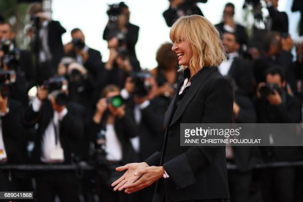 US actress and President of the Un Certain Regard jury Uma Thurman poses as she arrives on May 27 2017 for the Un Certain Regard prize ceremony at...