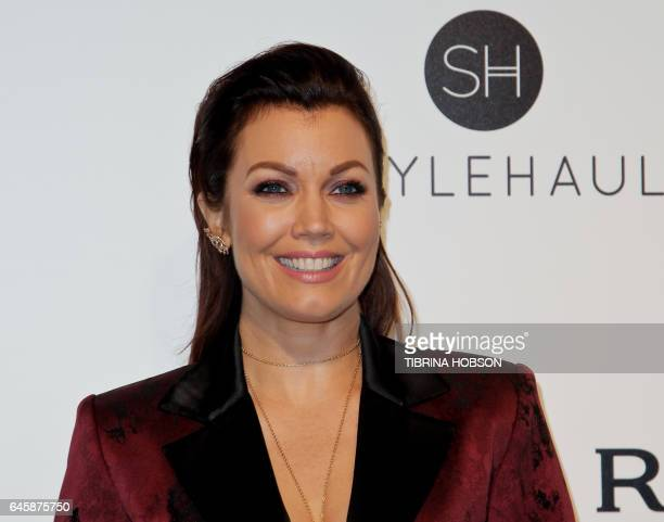 UA actress and producer Bellamy Young poses upon her arrival for the 25th annual Elton John AIDS Foundation's Academy Awards Viewing Party on...