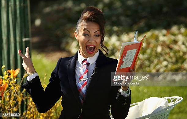 Actress and producer Genevieve Goings reads Dr Seuss' 'Green Eggs and Ham' during the White House Easter Egg Roll on the South Lawn of the White...
